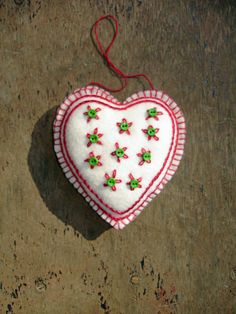 Hand-Stitched, Embroidered Felt Heart Ornament by MyDisgustedCats
