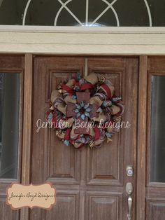 Western Rustic Red Turquoise Leopard print wreath