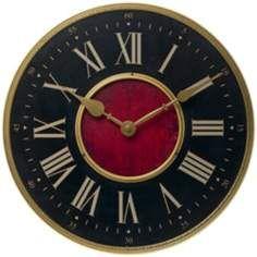 """Verona Antique Brass 15 3/4"""" Wide Wall Clock"""