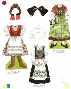 Traditional Folk Costumes of Europe 6 of 10 FRANCE and HUNGARY and NORWAY