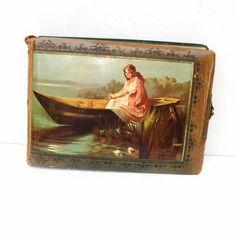 Antique Photo Album: Vintage Photo Album   Celluloid Photo Album    Lady Lake, Boat.