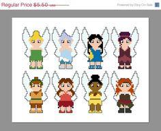 Hollow Fairies Pixel People Character (Tinker Bell, Periwinkle, Silvermist, Vidia, Fawn, Rosetta, Iridessa, Zarina) PDF pattern by CheekySharkLabs