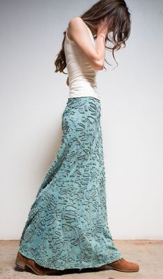 Small Anna's Garden Long Fitted Skirt, beautifully over dyed by hand in natural indigo.