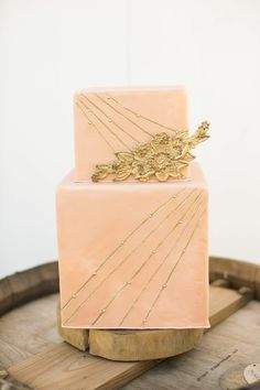 pink and gold geometric art deco cake
