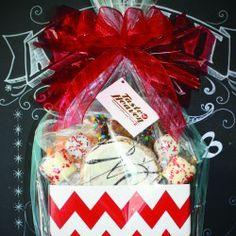 Taste of Heaven in Kalamazoo, MI shows off this Red Chevron gift basket box from Nashville Wraps. #giftbasketideas