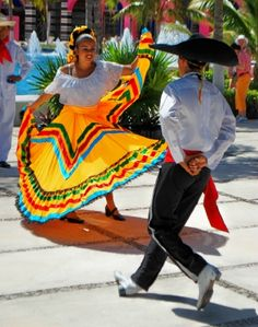 Dancers on the plaza in Costa Maya, Mexico.
