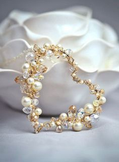 Pearl and Crystal Sterling and Gold Wire Wrapped
