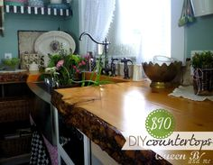 $90 DIY Kitchen Countertops!!! These are countertops are fabulous and SO do-able! #kitchen #countertops #DIY #bistro