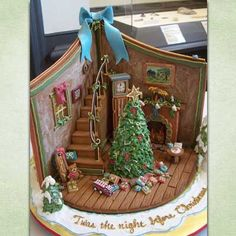 An old-fashioned Christmas scene made from gingerbread, royal icing, and fondant for some of the decorations. | thisoldhouse.com