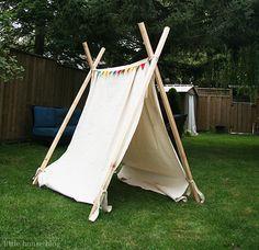No sew teepee with tarp and 4x4s.