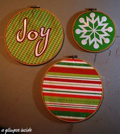 Who knew you could use embroidery hoops as ornaments? These simple homemade Christmas ornaments for kids are great for your little ones to make.   AllFreeKidsCrafts.com
