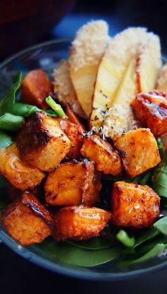 Cinnamon Roasted Butternut Squash Salad with Honey Coconut Apples over Fresh Spinach!