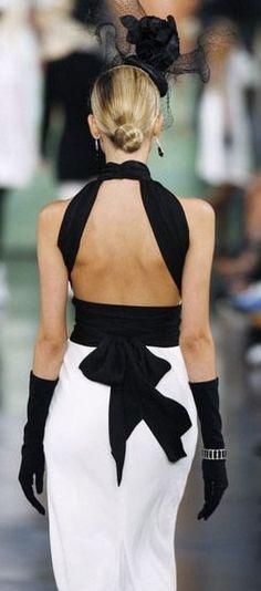 Rose-Style: Photo black & white backless dress