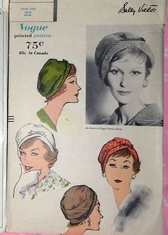 "SEW VOGUE 9619 rare VINTAGE Cloche Hats sz 22"" Head 1958 SEWING PATTERN"