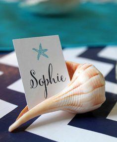 Cute placecard idea for an Under the Sea / Mermaid party