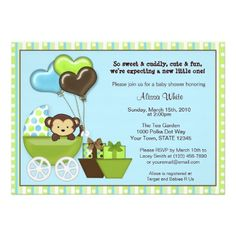 Monkey Carriage Baby Shower Invitation BLUE GREEN.  $2.45