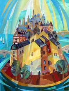 Village textile collage by Valentine Maksimov | LarkGallery OnLine - Artwork Sales