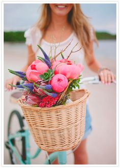 riding with pretty flowers in your basket, why not?
