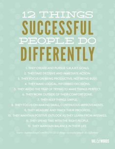 Be Successful! - 12 things successful people do differently