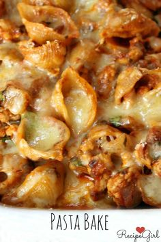 Cheesy Turkey Baked Pasta Recipe ~ whole wheat shells combined with sauteed onions, ground turkey, marinara and a very flavorful Monterey Jack cheese
