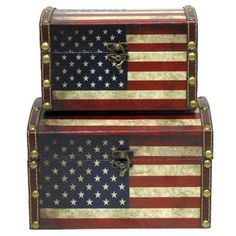 These decorative American flag boxes will add a great touch of patriotism to your desk while providing storage as well.