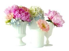 I Love The Idea of a Milk Glass Centerpiece for Spring!