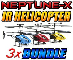Neptune-X 3.5CH Gyro IR Helicopter 3 Pack Bundle