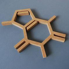 Wood Caffeine Molecule Wall Hanging Chemistry Geek by DFDStudio, $12.00