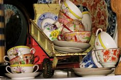 antique dishes in an antique truck.