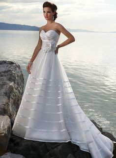 A-line Sweetheart Chapel Train Charming Organza with zipper back wedding dress