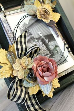 In Honor of Dad: Father's Day Project on Live with Prima with Cari Fennell using a weathered frame by @Hobby Parent : Artist-Coach Lobby and Prima products. This handsome flip-up book features photos of her sweet dad! Come see how she made it! #tutorials #FathersDay #giftideas #hobbylobby #papercrafts