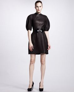 Glove Leather Dress & Leather Bow Belt by Alexander McQueen at Bergdorf Goodman.