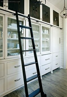 Ladder in pantry to reach up high - very convenient