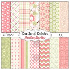 Coral Pink & Green Digital Papers: Serendipity in Textured Pink, Green, Gray Chevron, Quatrefoil