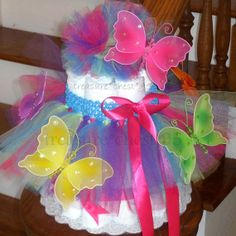 Rainbow Baby Shower centerpiece | Items similar to Butterfly Tutu Diaper Cake Baby Shower Centerpiece ...