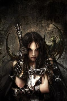 Fantasy warrior woman with sword and dragon, female, dragon, sword, fantasy art, warrior, beautiful.