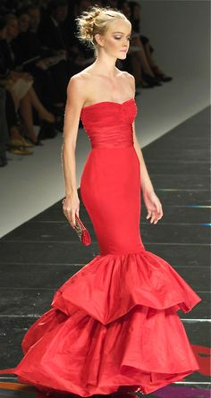Valentino red strapless fitted mermaid gown dress