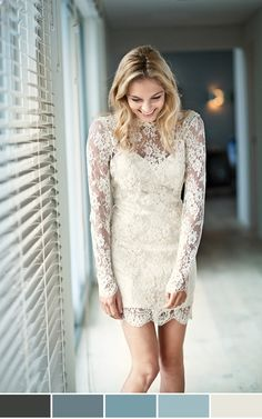 Love this lacy long-sleeve and short-hem combo