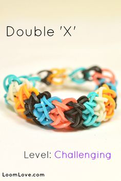 How-to: Make a Double 'X' Rubber Band Bracelet #rainbow #loom