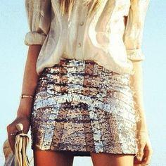 Sequin mini skirts.