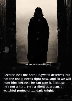 Dark Knight and Harry Potter. This fits so perfectly its like they wrote it with Snape in mind.