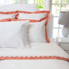 Great site for designer bedding | The Linden Coral Border Duvet Cover | Crane and Canopy