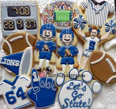 sports gifts, cooki idea, sport cooki, flour, bakeries, penn state, boxes, football decorated cookies, decor cooki