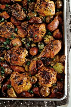 spanish chicken with chorizo & potatoes.. (ooh maybe with sweet potatoes even?)