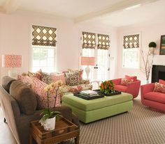 The trick to mixing patterns? Pick a color theme and use big swaths of solid color to anchor the space.