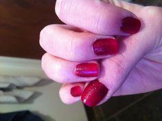 Ombré red sparkles