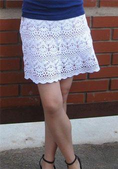 White Lace Skirt free crochet graph pattern