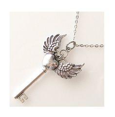 https://www.etsy.com/listing/103837001/silver-key-necklace-long-necklace-angel skeleton keys, angel wings jewelry, silver key, angels wings jewelry, key necklac