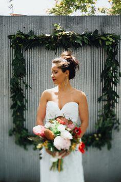 gorg backdrop idea, photo by Alison Vagnini http://ruffledblog.com/urban-brunch-wedding-ideas #weddinginspiration