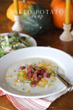 Easy Baked Potato Soup & Salad with Homemade Buttermilk Garlic Dressing